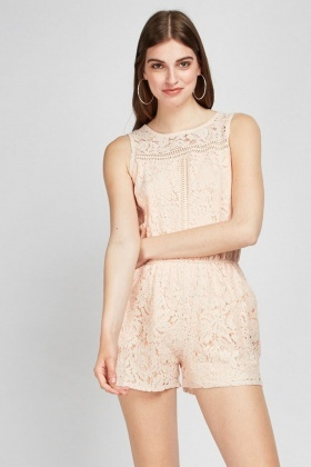 Laser Cut Lace Overlay Playsuit