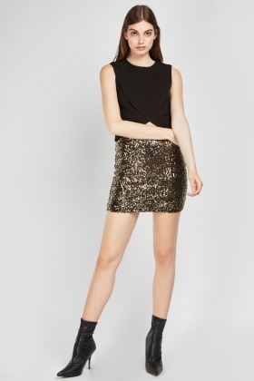 Sequin Overlay Mini Skirt