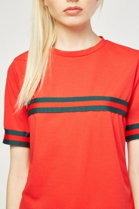Short Sleeve Stripe Trim Top
