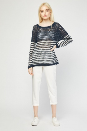 Stripe Crochet Knit Jumper