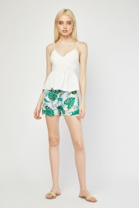 Tropical Print Flared Shorts
