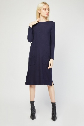 Twin Pockets Front Knit Dress