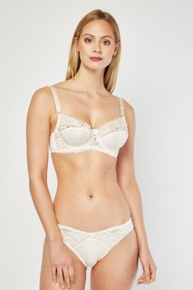 Embroidered Bra And Brief Set