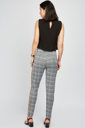 Glen Check Trousers With Leopard Print