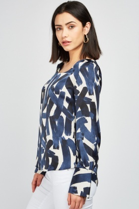 Printed Round Neck Blouse
