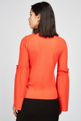 Ribbed Flared Sleeve Top