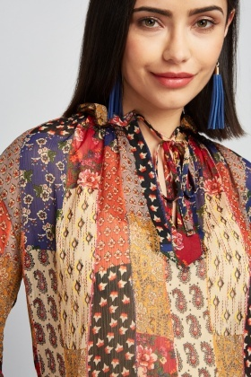 Sheer Bohemian Print Blouse