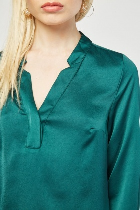 Slit Front Silky Blouse