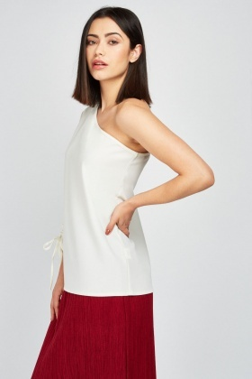 Tie Up Gathered One Shoulder Top