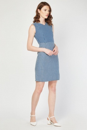 Embroidered Polka Dot Contrast Dress