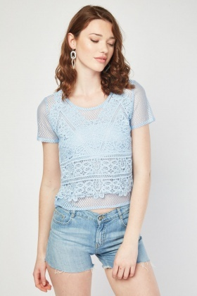Laser Cut Crochet Front Mesh Top