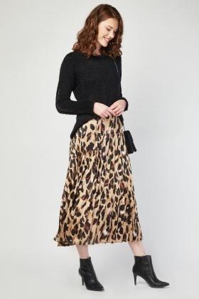 Discover crazy price wholesale sales Pleated Animal Print Midi Skirt