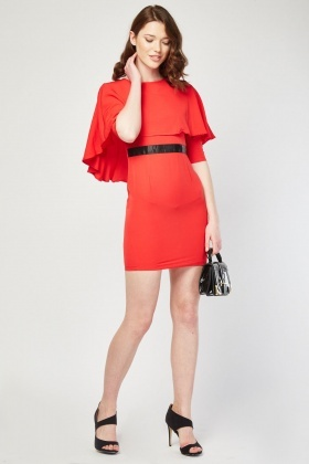 Ruffle Cape Style Bodycon Dress