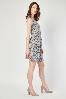 V-Neck Damask Embroidered Dress