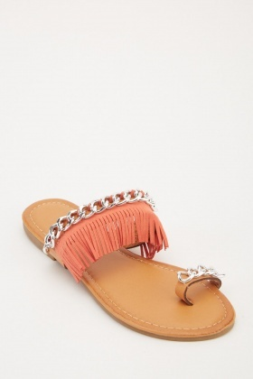 Chain Fringe Trim Ethnic Sandals