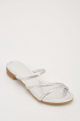 Encrusted Metallic Spiral Sandals