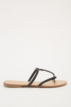 Encrusted Strappy Flat Sandals