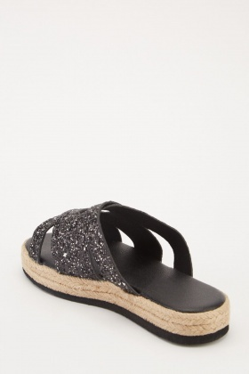 0cc25a04118 Glittered Cross-Strap Platform Sliders - 3 Colours - Just £5