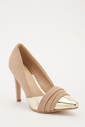 Pleated Suedette Court Heels