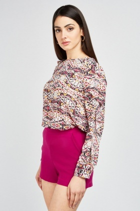 Aztec Printed Ruffle Blouse