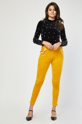 Faux Pearl Encrusted Velveteen Trousers
