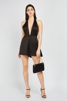 Low Plunge Sateen Playsuit