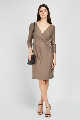 Ruched Wrap Side Midi Dress