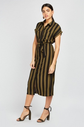 Twin Pocket Front Stripe Shirt Dress