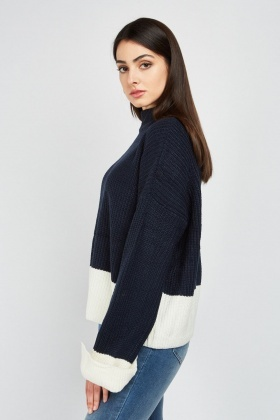 Two-Tone Chunky Knit Jumper
