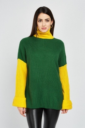 Two-Tone Roll Neck Jumper