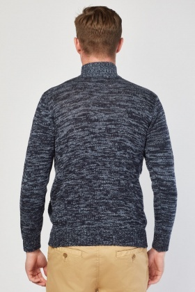 Zip Up Jacquard Pattern Jumper