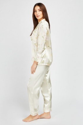 Flower Print Sateen Pyjama Set