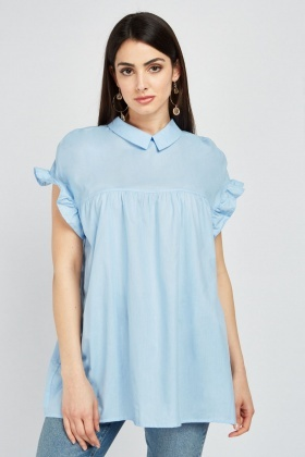 Frilly Sleeve Babydoll Blouse