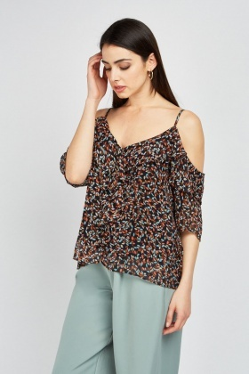 Ruffle Cold Shoulder Printed Blouse
