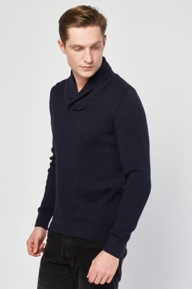 Wrap Neck Rib Knit Jumper