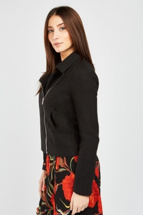 Zipper Front Tweed Jacket