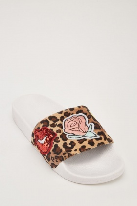 Applique Leopard Contrast Sliders