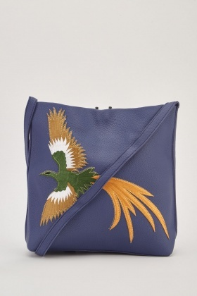 Bird Applique Leather Shoulder Bag