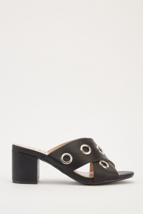 Cross Strap Eyelet Trim Mules