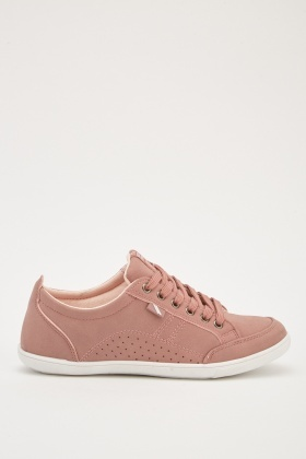 Lace Up Faux Suede Trainers