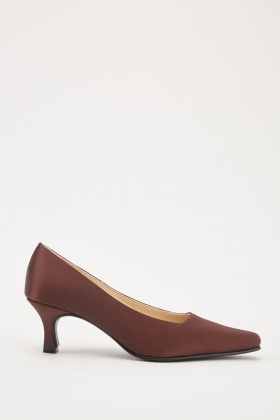 Low Heel Sateen Courts