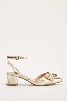 Metallic Bow Front Block Heels