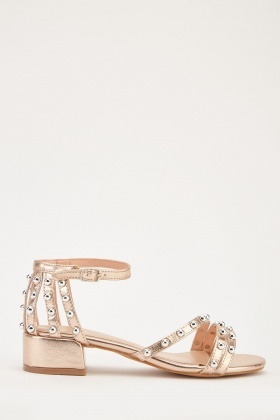 Metallic Studded Strap Sandals