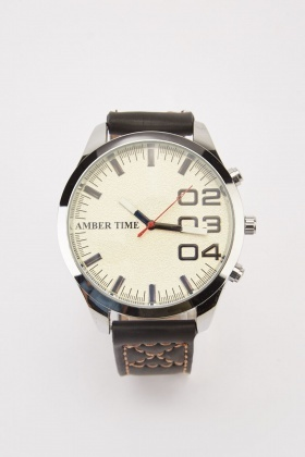 Stitched Faux Leather Strap Watch