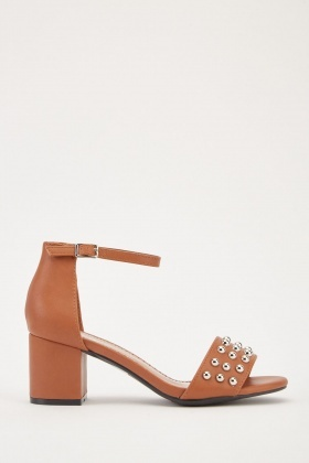 Studded Block Heel Sandals
