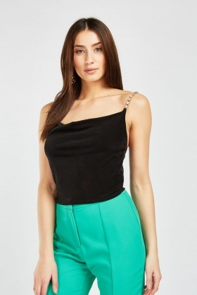 Diamante Strap Crop Cami Top