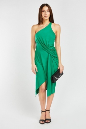 Draped One Shoulder Ruched Dress
