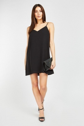 Eyelet Trim Black Cami Dress