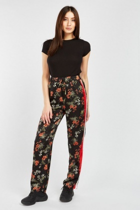 Floral Print Trousers With Stripe Side