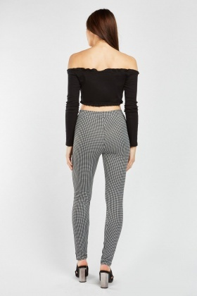 Hounstooth Leggings With Stripe Side